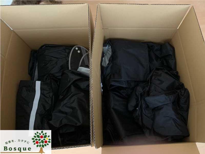 株式会社Bosque様より、レインウェアなどの衣類をいいことシップに寄付していただきました♪ その2
