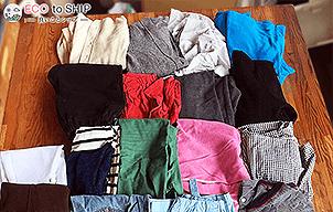 届いた洋服や子供服などの衣類(古着)10